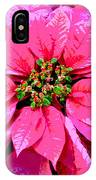 Pink Holiday Poinsettias IPhone Case