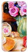 Pink Roses In A Green Vase With A String Of Pearls And A Pretty Summer Straw Hat  IPhone Case