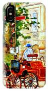 Quebec City Street Scene The Red Caleche IPhone Case