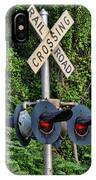 Railroad Crossing Light And Greenery IPhone Case