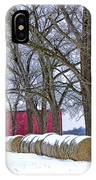 Red Barn In Winter With Hay Bales IPhone Case