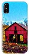Red Barn On A Hillside IPhone Case