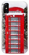 Red British Phonebox In The Snow IPhone Case