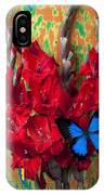 Red Gladiolus And Blue Butterfly IPhone Case