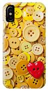 Red Heart And Yellow Buttons IPhone Case