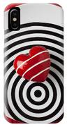 Red Heart On Circle Plate IPhone Case