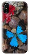 Red Leaf And Blue Butterfly IPhone Case