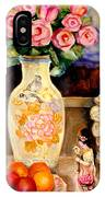 Red Roses Yellow Daffodils In Hand Painted Oriental Antique Vases With Fruit Plate Doves And Angels IPhone Case