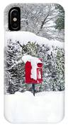 Red Telephone And Post Box In The Snow IPhone Case