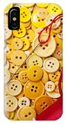 Red Thread And Yellow Buttons IPhone Case