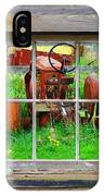 Red Tractor Thru Old Window IPhone Case