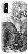 Rhinoceros Fight, 1875 IPhone Case