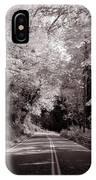 Road Through Autumn - Black And White IPhone Case