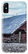 Rustic Red Winter Barn IPhone Case