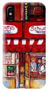 Schwartz's Deli-montreal Street Scenes-painting-by  Quebec Artist-carole Spandau IPhone Case