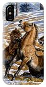 Scimitar Cats Attacking A Horse IPhone Case