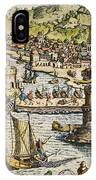 Seville: Departure, 1594. /ndeparture For The New World From Sanlucar De Barrameda, The Port Of Seville, Spain. Line Engraving, 1594, By Theodor De Bry IPhone Case