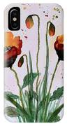 Shining Red Poppies Watercolor Painting IPhone Case