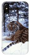 Siberian Tiger Lying On Mound Of Snow IPhone Case