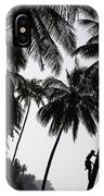 Silhouetted Man Climbing A Palm Tree To IPhone Case