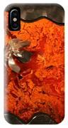 Silver Metal Flower On Orange IPhone Case