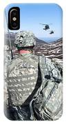 Soldiers Wait For Uh-60 Black Hawk IPhone Case