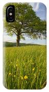 Solitary Oak Tree And Wildflowers In IPhone Case
