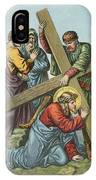 Station Vii Jesus Falls Under The Cross The Second Time IPhone Case