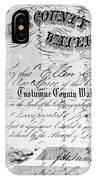 Stock Certificate, 1853 IPhone Case