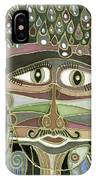 Surprize Drops Surrealistic Green Brown Face With  Liquid Drops Large Eyes Mustache  IPhone Case
