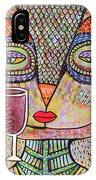 Talavera Pink Owl Drinking Red Wine IPhone Case