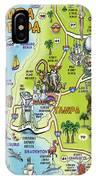 Tampa Florida Cartoon Map IPhone Case