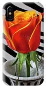 Tea Rose In Striped Vase IPhone Case