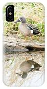Teal Duck Standing On A Log IPhone Case