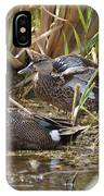 Teal Pair In The Cattails IPhone Case