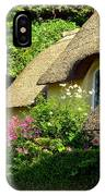 Thatched Cottage With Pink Flowers IPhone Case