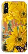 Three Daisy's And Butterfly IPhone Case
