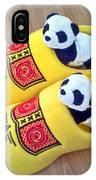 Travelling Pandas Series. Dutch Weekend. Cozy Dutch Clogs. Square Format IPhone Case
