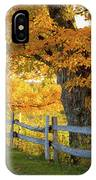 Trees In Autumn Colours And A Fence IPhone Case