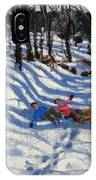 Two Boys Falling Off A Sledge IPhone Case