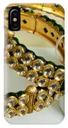 Two Green And Gold Bangles On Top Of Each Other IPhone Case