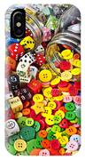 Two Jars Dice And Buttons IPhone Case by Garry Gay