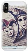 Two Masks On Sheet Music IPhone Case