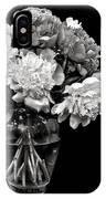 Vase Of Peonies In Black And White IPhone Case