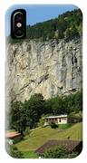 View Of Greenery And Waterfalls On A Swiss Cliff IPhone Case