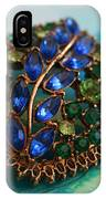 Vintage Blue And Green Rhinestone Brooch On Watercolor IPhone Case