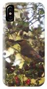 Wax Wing In A Berry Tree  IPhone Case
