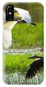 White And Grey Herons In Flight IPhone Case