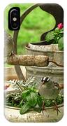 White Crowned Sparrows On The Flower Pot  IPhone Case