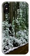 Winding Forest Trail In Winter Snow IPhone Case